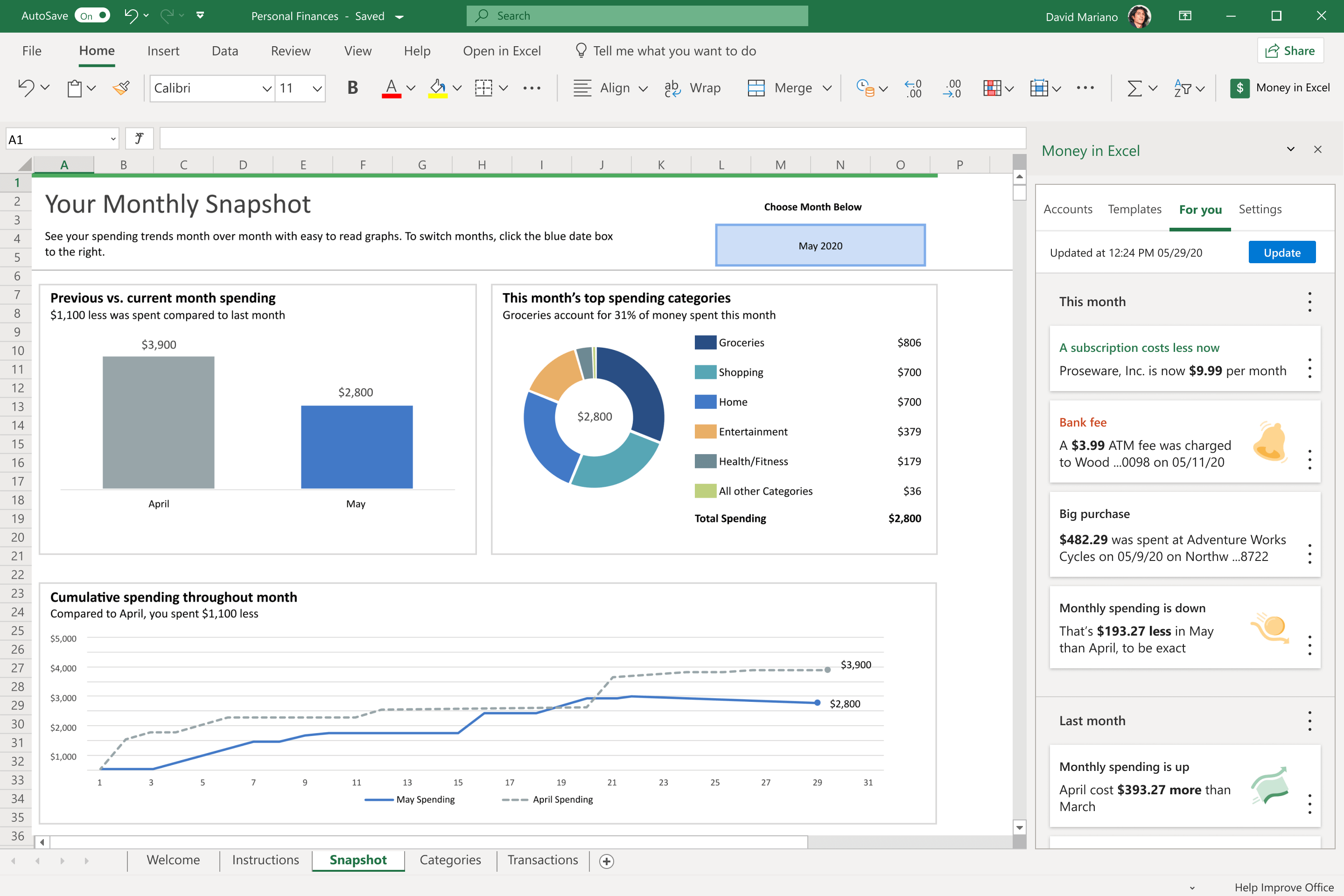 Achieve your financial goals with Money in Excel